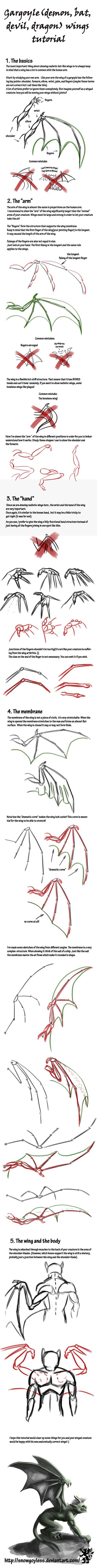 Gargoyle Wings Tutorial by ~Snowgoyless on deviantART https://www.facebook.com/CharacterDesignReferences