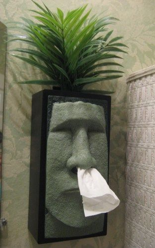 Tiki Head Tissue Box Cover - Green Face with Black Sides  -- For a guy's bathroom. LOL