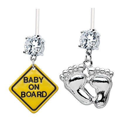 2-Pack BABY ON BOARD + FOOT PRINTS Clear Gems Pregnancy Belly Rings – BodyBits