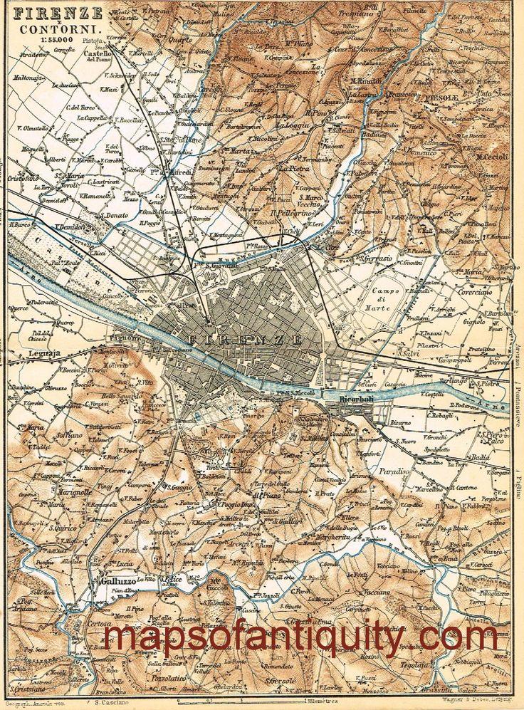 10 best antique maps of the mediterranean images on pinterest firenze florence 1886 antique print by baedecker 50 original vintage publicscrutiny Image collections