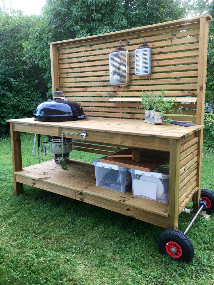 Weber grill table utekök trädgård outdoor kitchen grillbänk utegrill BBQ