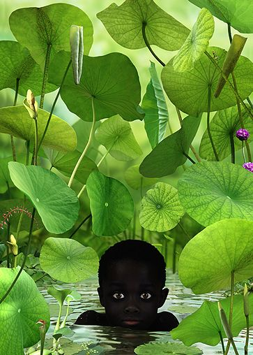 ,Ruud van Empel.. Van Empel's working method is a complex one. He photographs 4 or 5 professional models in his studio and takes many detailed photographs of leaves, flowers, plants and animals. The models pictures are mixed with these images using the Photoshop program and with clothes photographed separately on a tailor's dummy. In this way he creates new images of mainly children, in black and white, set in a paradisaical environment