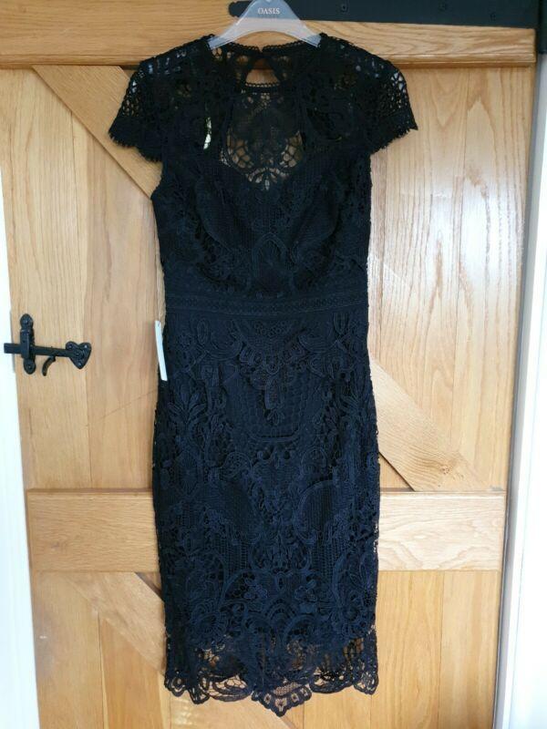 Lipsy Vip Lace Midi Black Dress Uk 8 In 2020 Black Dresses Uk Lace Bodycon Midi Dress Black Midi Dress