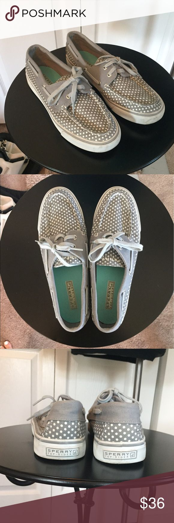 SPERRY Top Siders size 7.5 Gray with white dots Sperry Top-Sider.  Women's size 7.5.  Very good condition, please see pics. Sperry Top-Sider Shoes