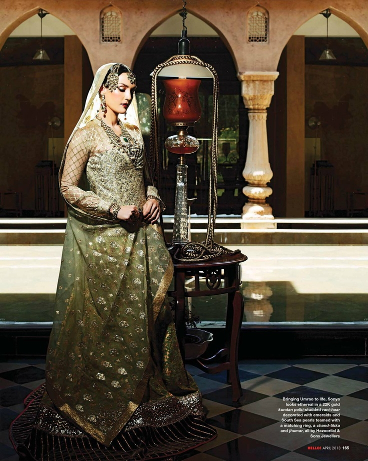 Sonya Jehan as Umrao Jaan in this gorgeous shoot, w/ the Nawabi touch....jhoomar, panchangla, haath-phool. Photography: Ashish Chawla, Jewels: http://www.Hazoorilal.com/home.shtml  / Wardrobe: Kotwara by Meera & Muzaffar Ali.