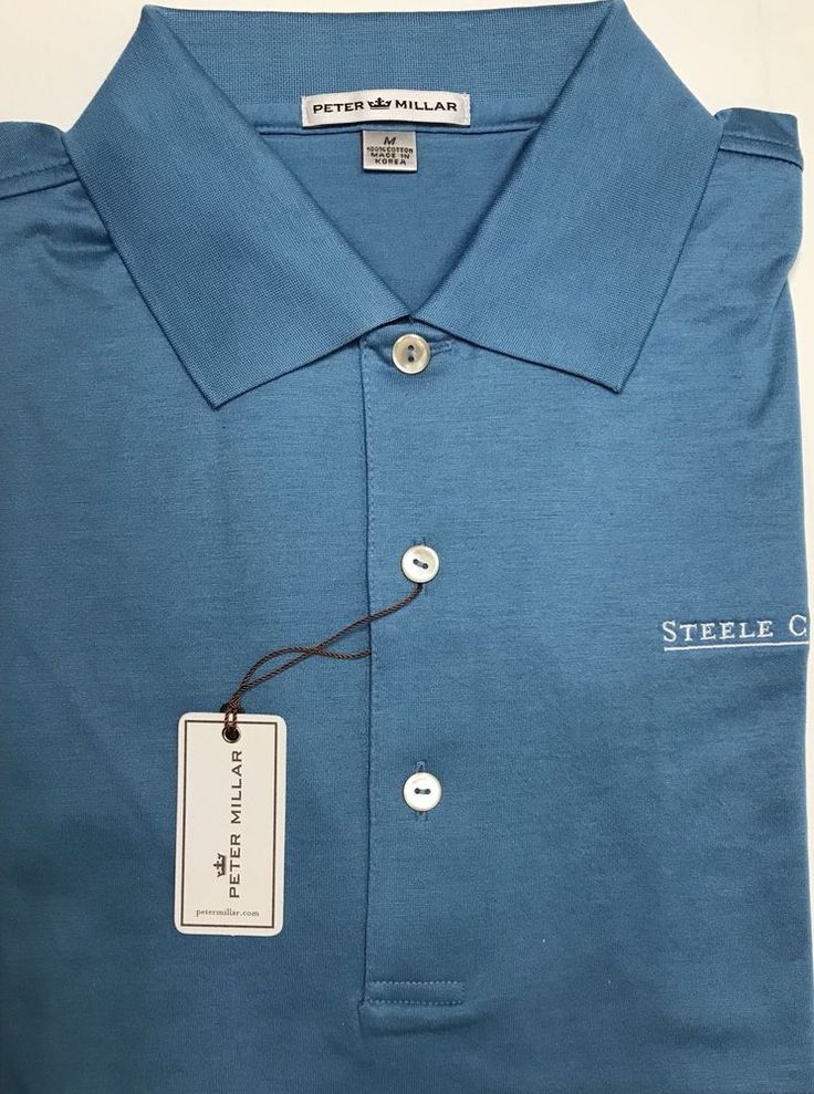 New Peter Millar Solid Blue Steele Creek NC Logo Cotton Golf Polo Shirt Size M  | eBay