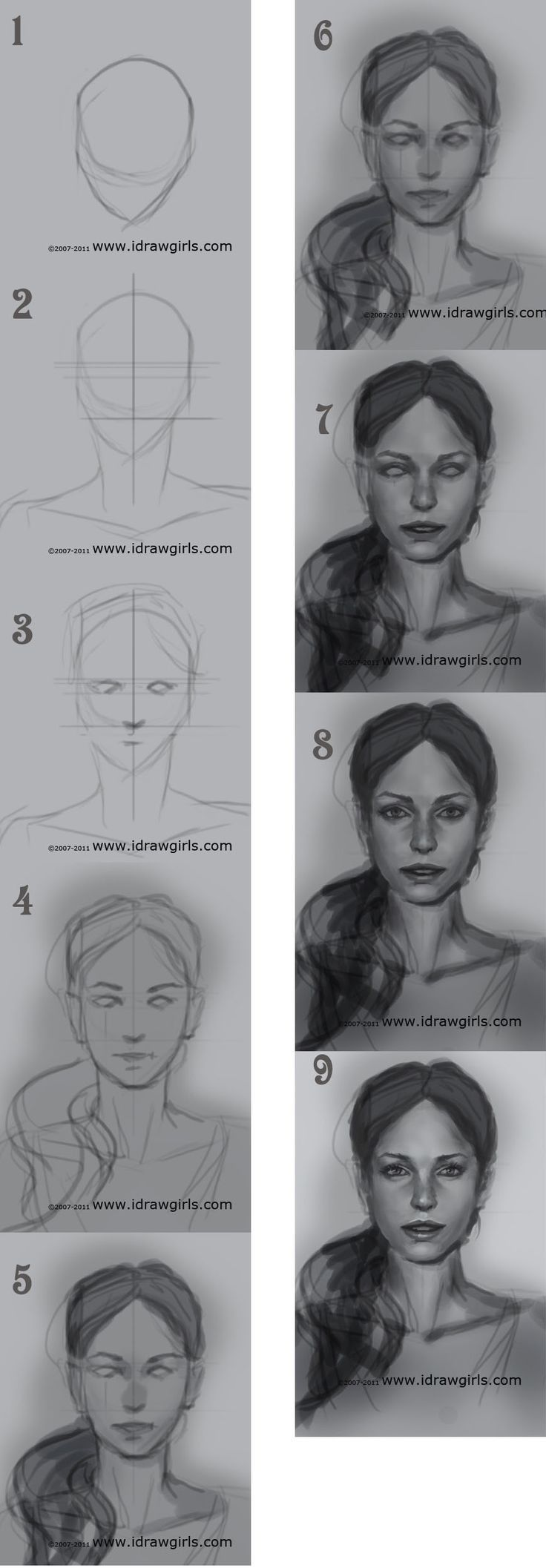 How to draw a female face: