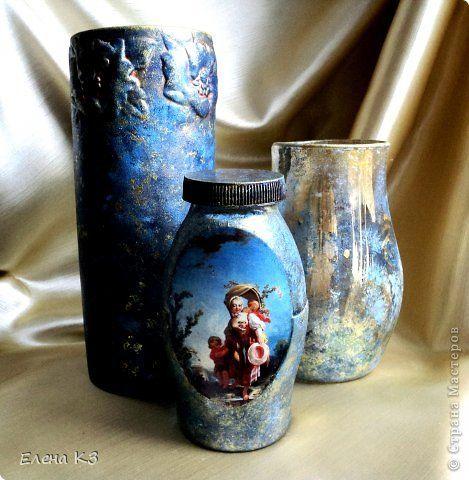 Декор предметов Декупаж Кракелюр Синее золото Краска фото 1