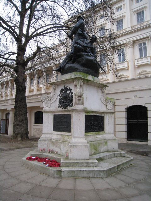 The Royal Marines Memorial in The Mall, London was unveiled on 25 April 1903 by the Prince of Wales, on a site now occupied by the Admiralty Citadel. Removed in 1940 and reinstalled on the Mall in 1948