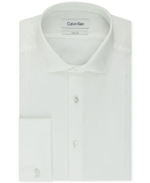 Calvin Klein Steel Men's Slim-Fit French Cuff Tuxedo Shirt - White 17.5 36/37