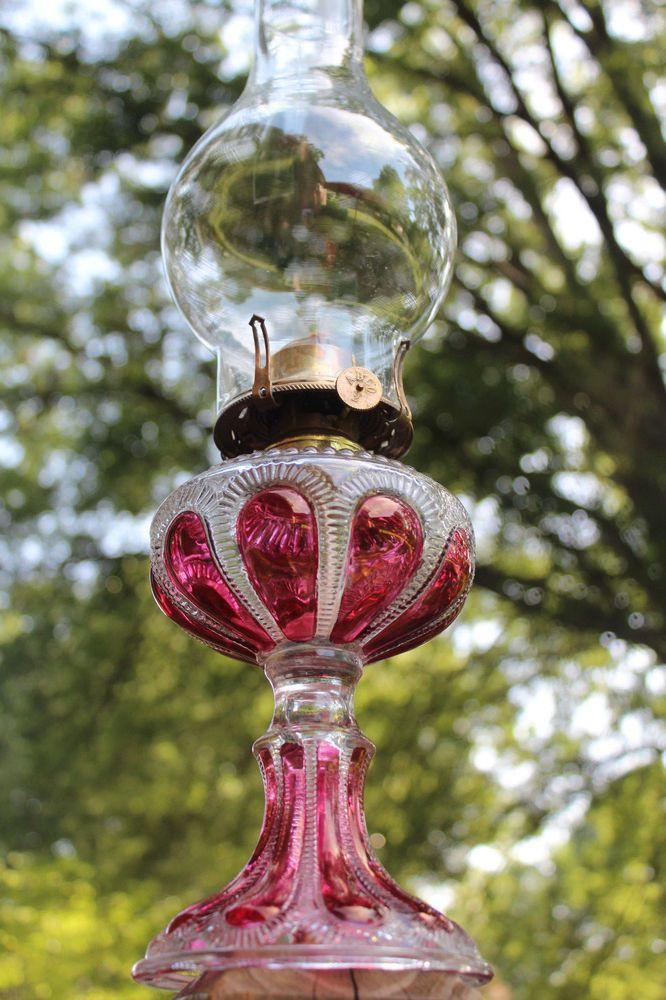FANCY c.1909 ANTIQUE EAPG CRANBERRY FLASHED IMPERIAL GLASS CO. KEROSENE OIL LAMP