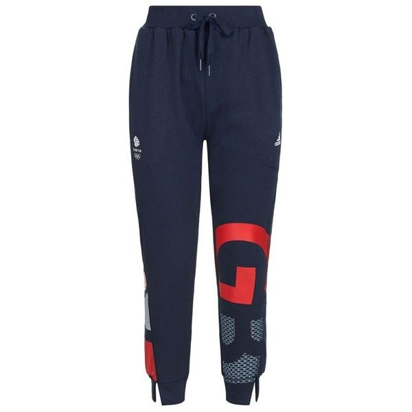 Adidas Team GB Cuffed Sweatpants ($64) ❤ liked on Polyvore featuring activewear, activewear pants, sweat pants, cuffed sweatpants, blue sweatpants, blue sweat pants and cuff sweat pants