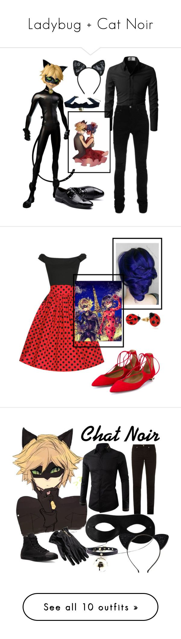 """Ladybug + Cat Noir"" by janemorguedoe ❤ liked on Polyvore featuring AMIRI, Maison Close, Aquazzura, Nach, art, Yves Saint Laurent, Merona, Kate Spade, Kevin Jewelers and ASOS"