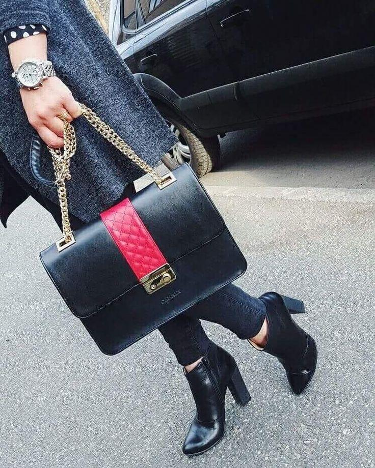 Black leather bag Handmade