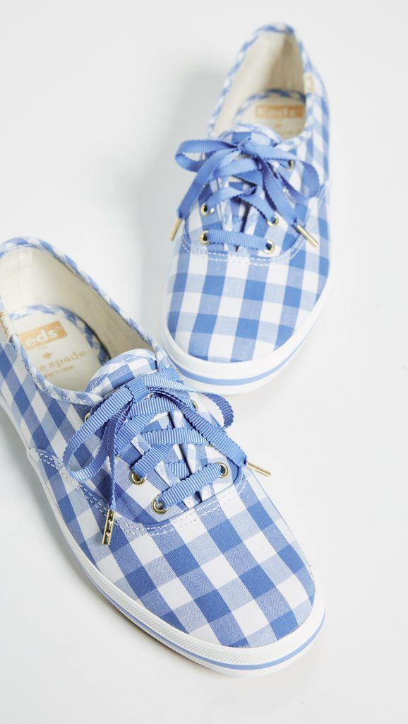 Blue and White Gingham Sneakers Kate Spade for Keds