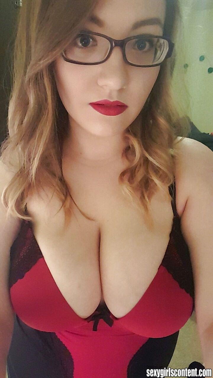 3 Gorgeous Redhead Chick Glasses Big Natural Tits Lingerie -8797
