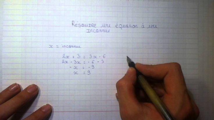 Résoudre une équation à une inconnue - Equation de premier degré