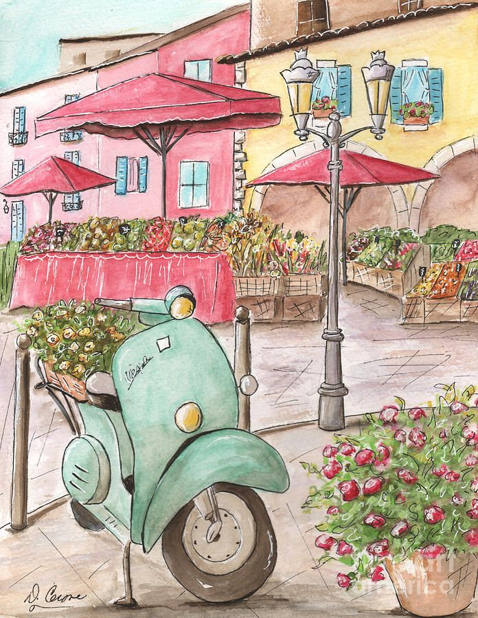 French Market - Vespa In Paris Fruit Market Painting by Debbie Cerone