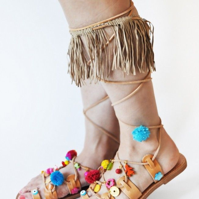 High quality handmade Greek gladiator leather sandals with beige suede fringes. The absolute summer sandals!
