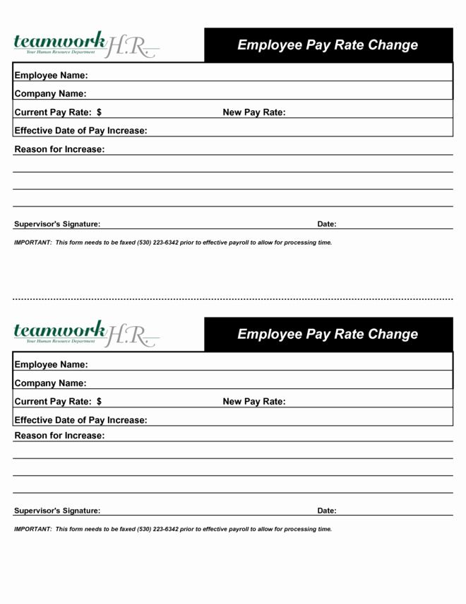 Salary Change Form Unique Inspirational Employee Pay Rate Change