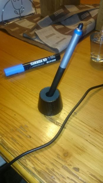 Picture of wacom pen holder/stand  DIY here: http://www.instructables.com/id/wacom-pen-holderstand/