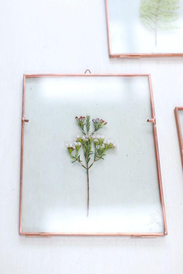 DIY cuadro decorativo de vidrio con flores naturales