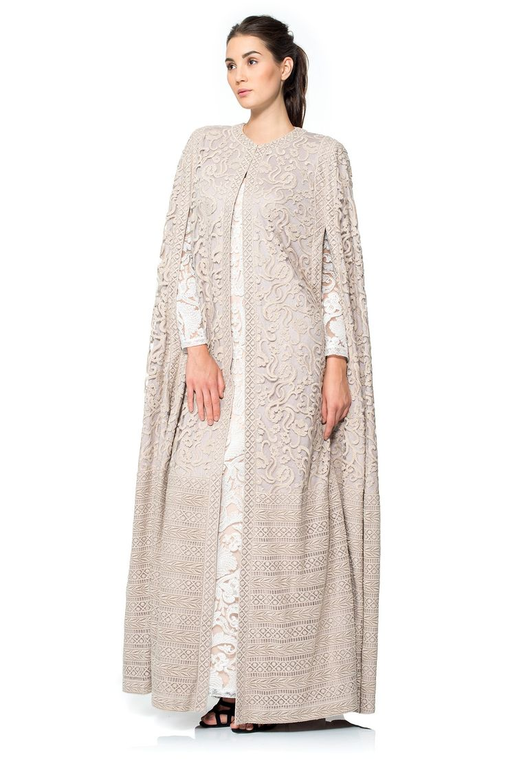 Crewel Embroidery on Tulle Cape | Tadashi ShojiWOMENS FASHION :  NIQAB ,‫نِقاب‬‎‎ , ABAYA , ‫عباية‬‎‎ ,عباءةʿ عبايات ʿعباءاتʿ , ABA , HIJAB , ‫حجاب‬‎‎ More Pins Like This At FOSTERGINGER @ Pinterest