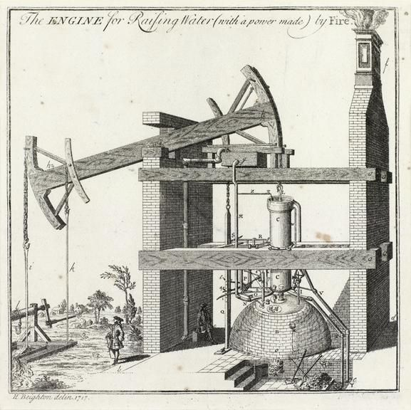 Framed print of Henry Beighton's Engraving of the Newcomen Engine at Griff, 1717, Henry Beighton, England, 1717-1725.  This engraving (the original of which was discovered in Worcester College, Oxford, in 1925) is the oldest known illustration of a Newcomen engine.