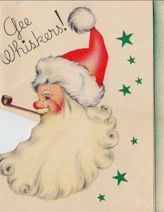 Retro Santa with a pipe