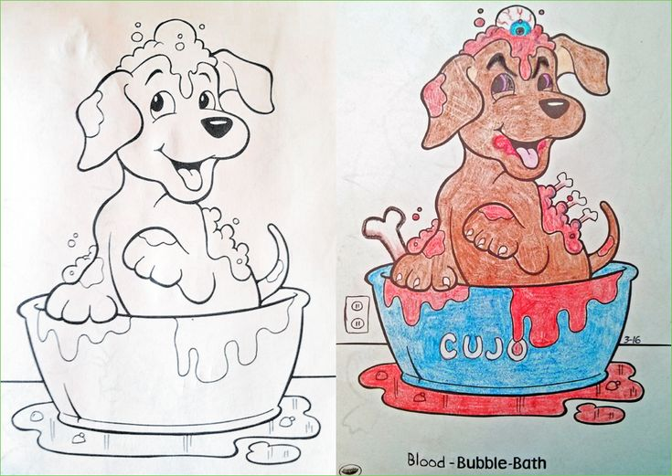 illustration from childrens coloring books that have been twisted and corrupted by darkly humorous adult - Coloring Books For Children