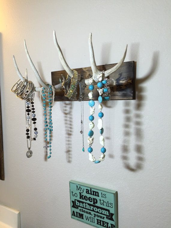 porte bijoux bois monté d'andouiller de cerf par TurquoiseOwlDesign