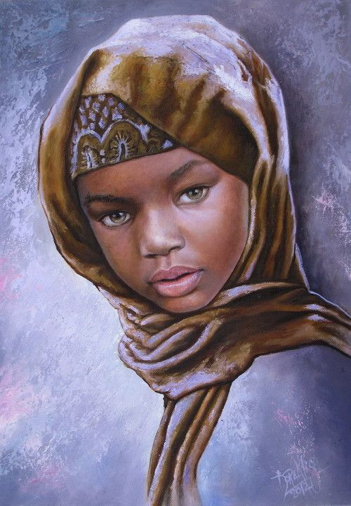 Niña de África 63. By Dora Alis. Children of Africa - Black Race Children. Óleo sobre lienzo - 35 x 50 ctms - 2012. The faces of black children, no matter where in the world. Reflefjados colors in black skin, the painter provide endless creative possibilities. Despite being a single race, tones and shades of skin are very different.