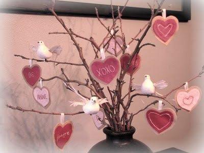 Valentine branches--LOVE the mini birds!