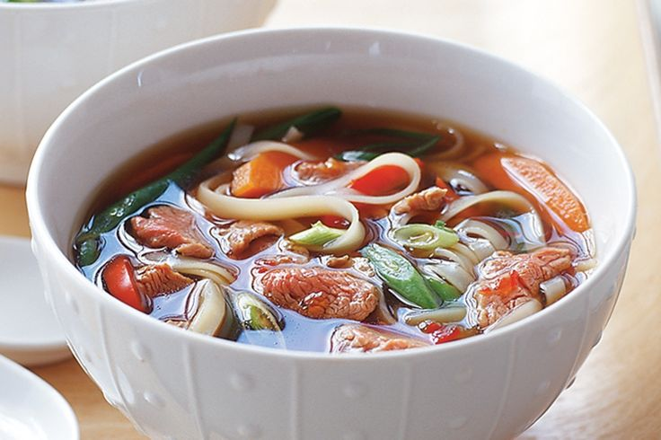 In this traditional soup, finely sliced pieces of beef steak are added raw to the soup bowl and then cooked by the addition of the steaming hot broth.
