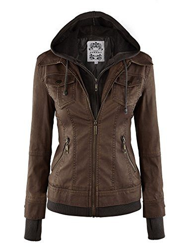 LL WJC664 Womens Faux Leather Jacket with Hoodie XL COFFE...