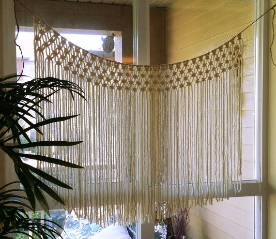 Window Wedding Altar: Cream Macrame Hanging. Makes A Unique Gift Idea. Hang As