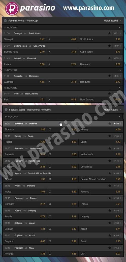 Best selection of games - Play live-sport bet today !  World cup qualifying! #parasino  http://parasino.com/