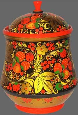 Wooden pot decorated with traditional Khokhloma painting from Russia. #folk #art