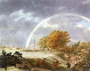 Autumn Landscape with Rainbow 1779  Jacob Cats