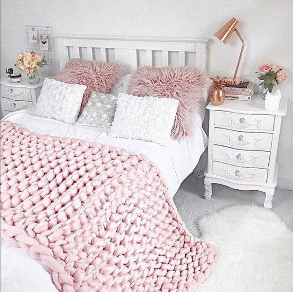 Big Knit Blanket Chunky Knit Blanket Pink Chunky Knit Blanket Chunky Blanket Knit Blanket Pink Bed Throw Girly Bedroom Girl Bedroom Decor Room Decor