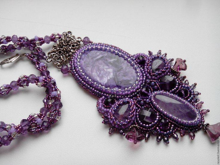 """Купить Ожерелье с чароитом и аметистами """"Сиреневое чудо"""". - Ожерелье ручной работы, ожерелье с подвеской"""