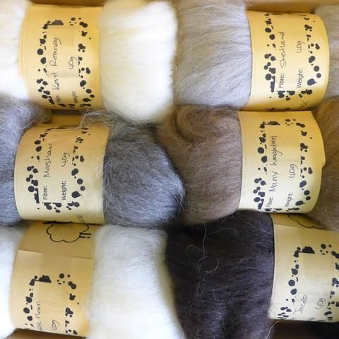Spinning wool top selection boxes at FibreHut Sheepy Gifts in Hockley Heath, West Midlands