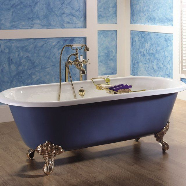 une baignoire sur pied vintage bleu provence la baignoire en fonte vintage - Baignoire Sur Pieds