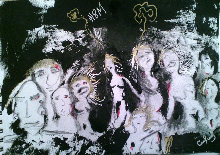 """8M"" by Nadir Chacín #MyInstinctiveDrawings Sant Cugat del Vallès, 15/03/2017 nadirchacin.com · #VagaDeTotes #WomensStrike #NosotrasParamos #Sororidad #ParoInternacionalDeMujeres"