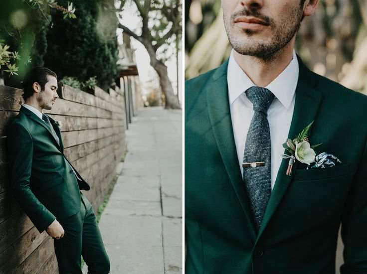 Groom's green suit, green texture necktie, gold tie bar, green and navy pocket square