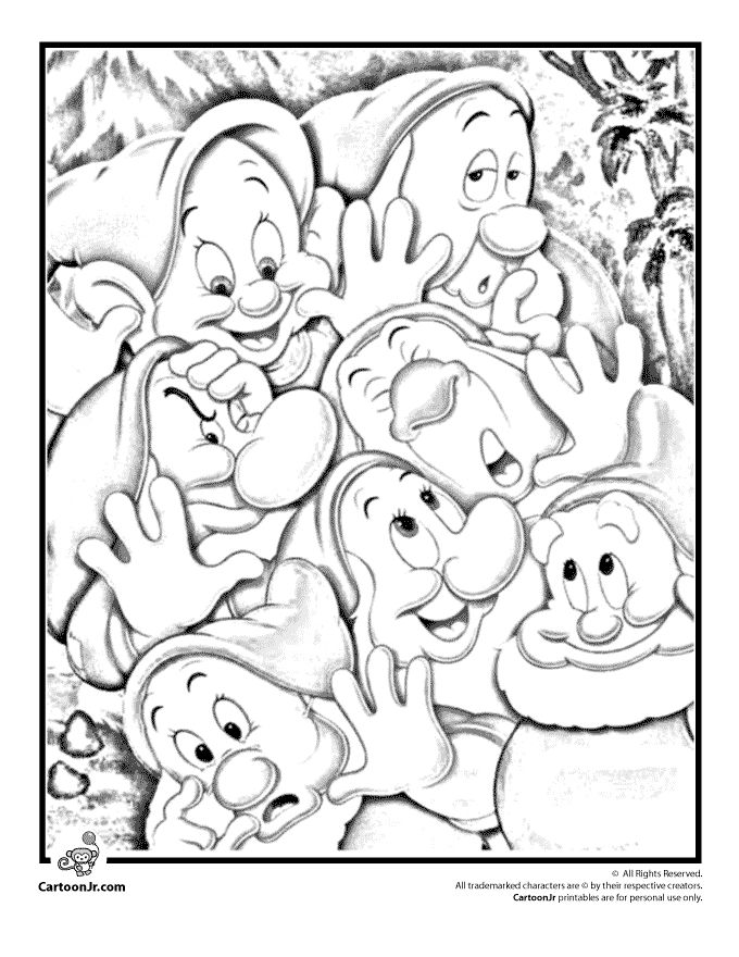 Snow White Coloring Pages and Printables Seven Dwarfs Coloring Page – Cartoon Jr.