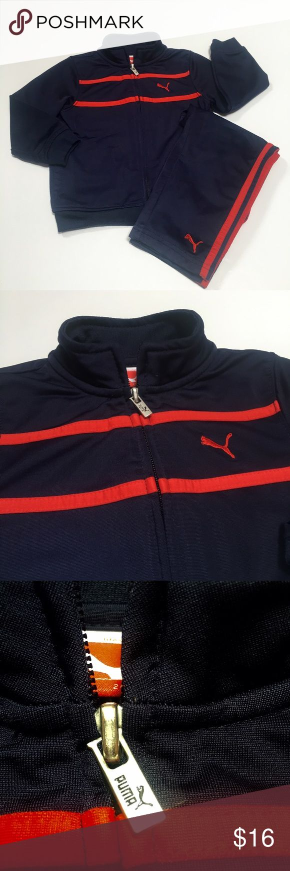 🎉BOGO🎉Navy and red puma tracksuit Navy and red puma tracksuit. Jacket zips all the way and has pockets. Pants are elastic waist with emblem on cuff and stripes up the legs. EUC. Puma Matching Sets