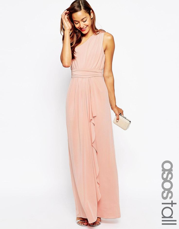 Image 1 Of Asos Tall Wedding One Shoulder Sexy Slinky Maxi