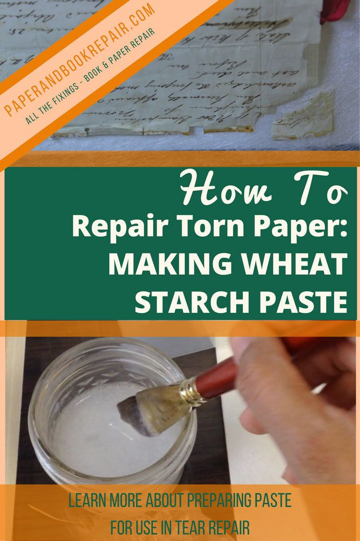Learn to make wheat starch paste used to fix torn paper. This is post 2 out of 3 detailing a method for mending paper tears.   Preservation of library and archive materials, rare books and art conservation and restoration.