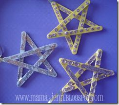 Glitter Stars from lolly sticks - use for Halloween, Christmas themes or Space activities